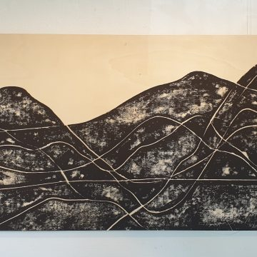Bild im Erdgeschoß, Linolschnitt auf Holz